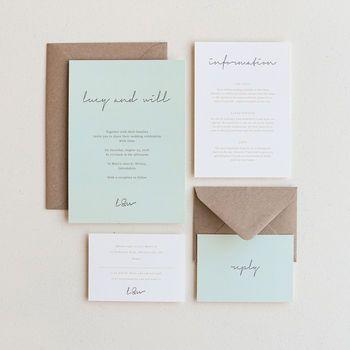 Love Letter Wedding Invitation / Duck Egg Blue