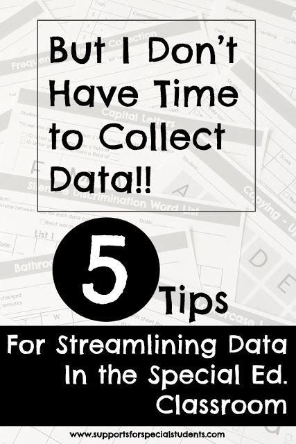 Tips for Streamlining Data in the Special Education Classroom with link to a free data binder cover - Blog post by Supports for Special Students