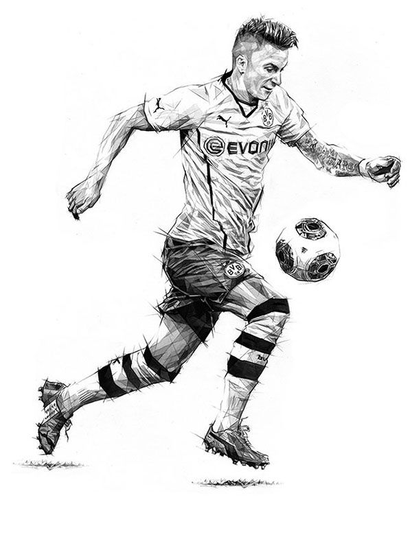 Marco Reus - 11Freunde - Magazine Illustrations by Dave Merrell, via Behance