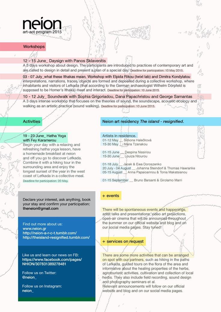 neion activities program for 2015