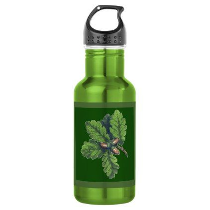 Oak Leaf Cluster 18 oz Water Bottle - oak gifts tree leaves style nature gift idea cyo