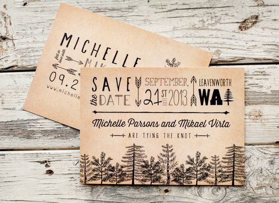 Rustic Save the Date Card, Trees, Forest, Rustic Wedding - woodland wedding, woods, Vintage, Antique, typography. $60.00, via Etsy.