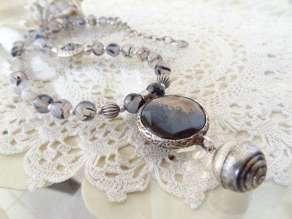 Striped Grey Agate Necklace Grey Jewelry Striped Grey Agate #necklace #for #summer