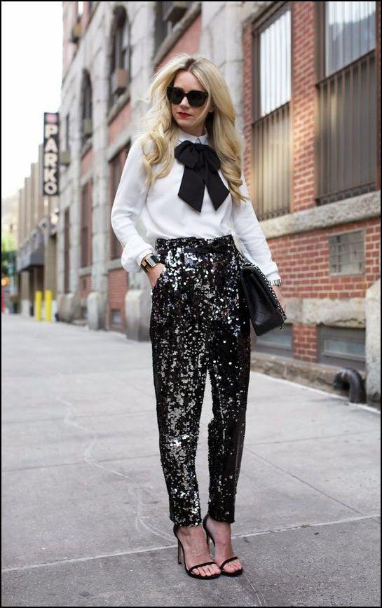 cekinowe spodnie stylizacja