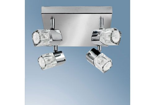 This state-of-the-art fitting is a 4 light ceiling spotlight, which has been finished in dazzling polished chrome and comes complete with square crystal glass shades. Height: 14cm <br><dir><dir>Diameter: 28cm <br>Wattage: 4 x 40 watt max <br>Socket/Bulb: G9 Halogen Capsule Bulb (Bulbs Included)<br></dir></dir><br><br> Size : 62.4cm(W)