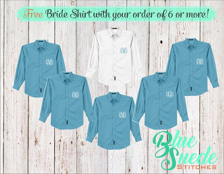 Monogram Bridal Shirts set of 6 - Bridesmaid oxford shirts, monogrammed oxford shirts, getting ready shirts, bridal party gifts by BlueSuedeStitches on Etsy