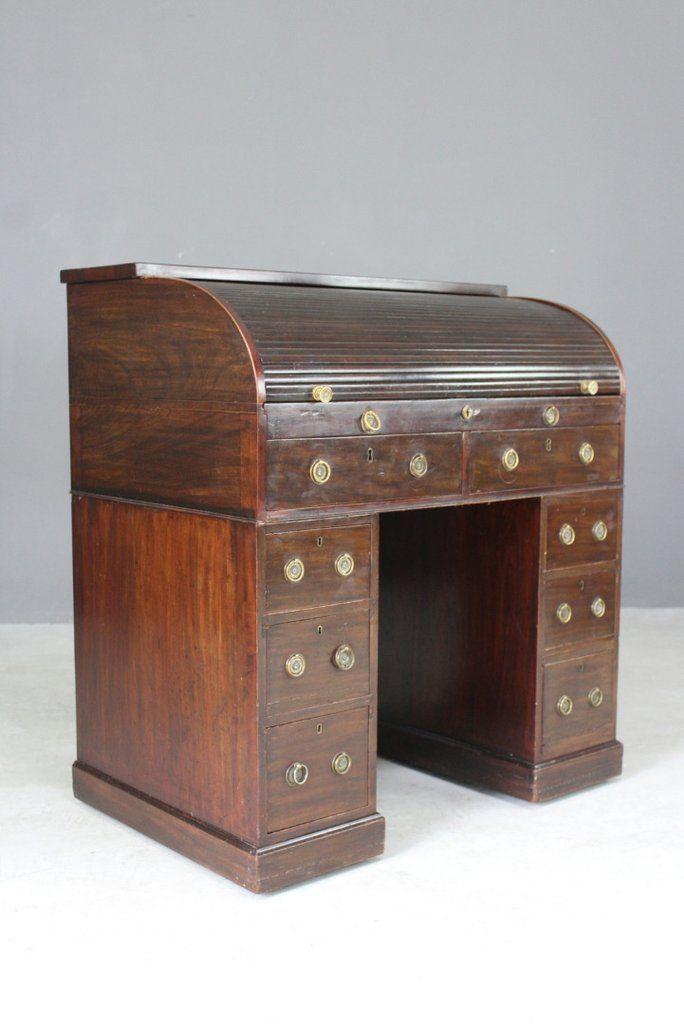 Georgian Mahogany Tambour Desk Desk Tambour Antique Desk