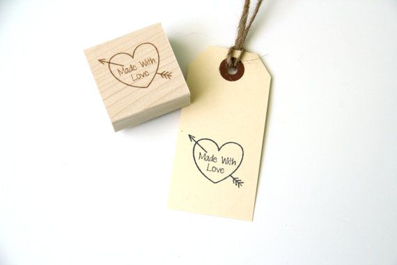 Made With Love Stamp, Heart & Arrow Stamp, Wood Mounted Rubber Stamp for Handmade and DIY Crafts, Gifts, Cards, Packaging