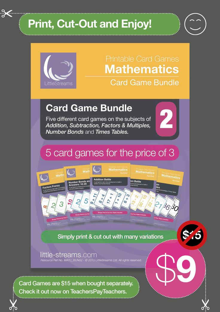 5 Card Games for the Price of 3  • Factors Frenzy | Card Game for learning Factors & Multiples • Number Bonds and Sums | Competitive Card Game for Addition and Number Bonds • Addition Battle | Card Game to build skills in addition and number bonds • Subtraction Battle | Card game to build skills in subtraction and number bonds • Times Tables | Card Game for Times Tables and Multiples