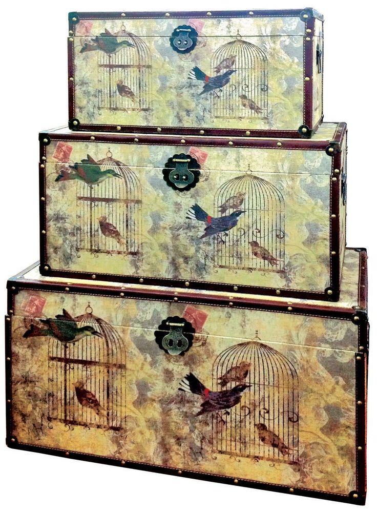 "Bird Cages Trunk Set. Largest Trunk: Height: 14"" - 35cm Width: 27.5"" - 70cm Depth: 14"" - 35cm"