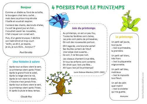 4 poésies sur le printemps