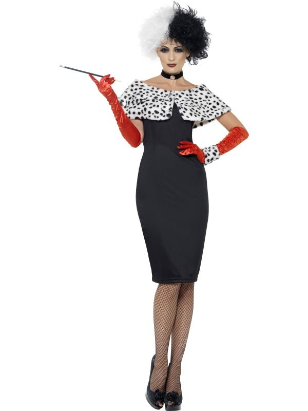 Adult 101 Dalmations Cruella De Ville Outfit Fancy Dress Costume Womens Female | eBay: