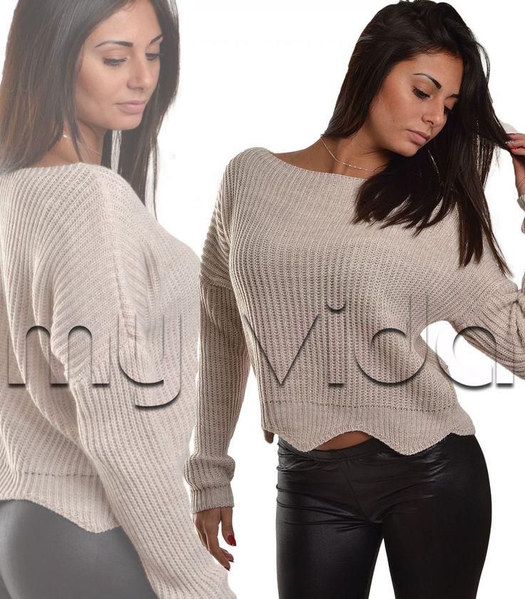 Maglione lana donna pullover corto alpaca colori invernali | My Vida