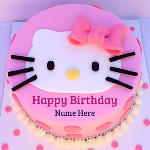 Write Name on Cute Kitty Birthday Wishes Cake