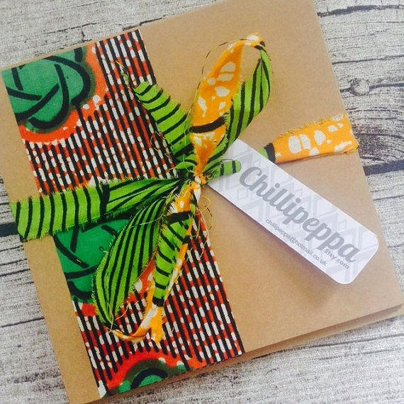 10 African wedding invitations, African wax print strip wedding invitation card set with envelopes, Bright wedding invitation