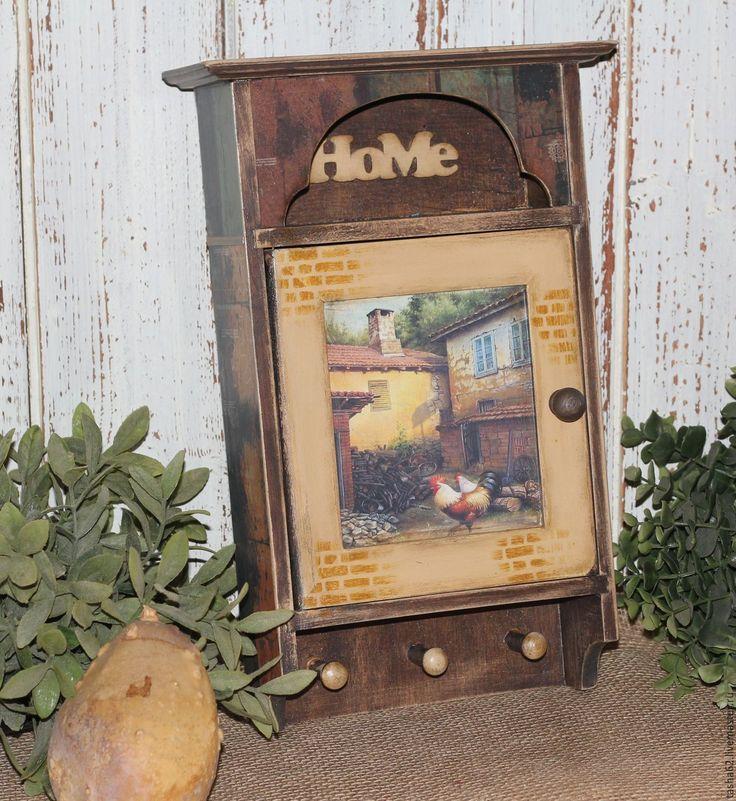"""Купить Ключница """"Уютный дворик"""" - комбинированный, ключница ручной работы, ключница, Ключница декупаж"""