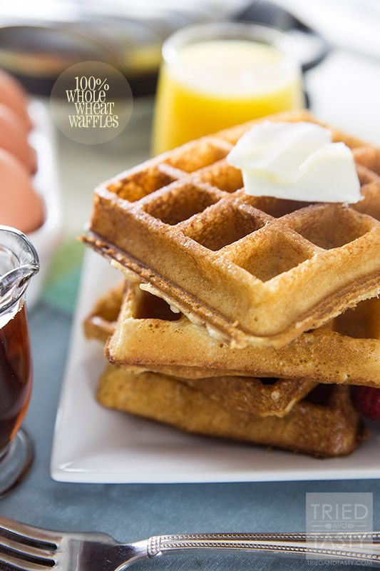 100% Whole Wheat Waffles // Looking for a nutritious way to start your day? These 100% Whole Wheat Waffles are heart healthy and perfect for the entire family! | Tried and Tasty