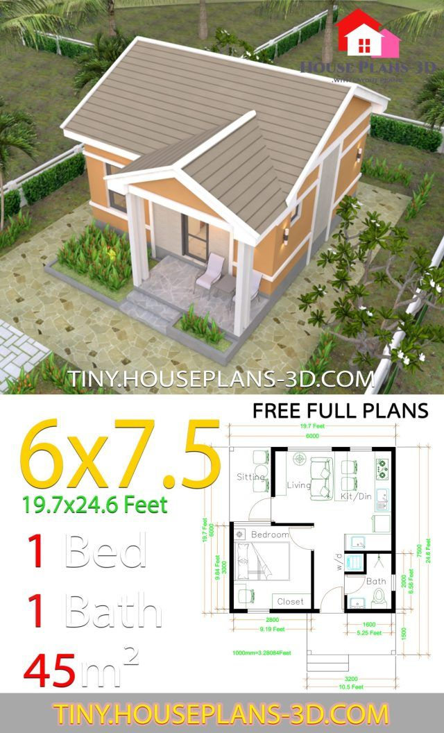 One Bedroom House Plans 6x7 5 With Gable Roof Tiny House Plans In 2020 One Bedroom House Plans One Bedroom House Bedroom House Plans