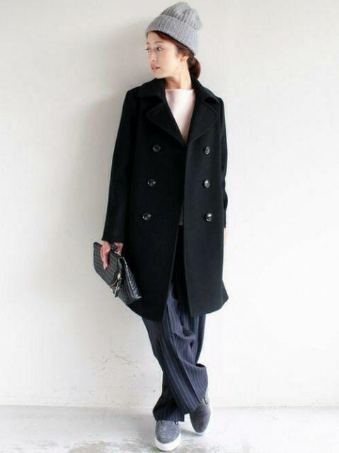 ニット帽 ロングコート チェスターコート(ダブル) クラッチバック スラックス ストライプパンツ スリッポン グレー ピンク(薄) ブラック ネイビー ストライプ