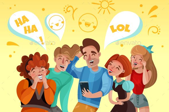 Animation Background Of Laughing People