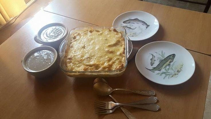 Cream mushroom soup and potatoes pie