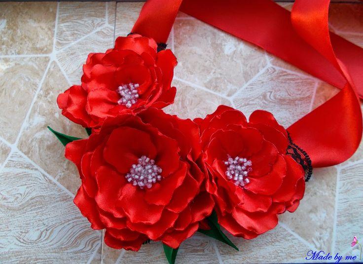 Made by me: Colier cu maci rosii din saten lucrati manual. Se ...