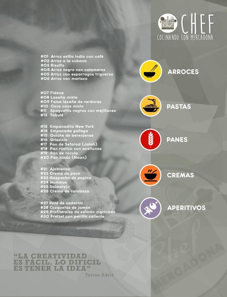 Indice arroces, pastas, panes, cremas y aperitivos. Chef Mercadona