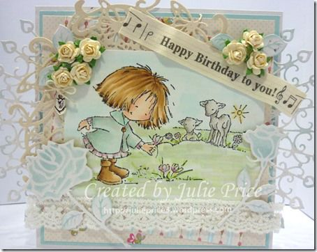 Card by DT member Julie Price with Clear Stamp Don & Daisy Finding a Crocus (DDS3317), Don & Daisy Theme Spring (DDS3332), Creatables Rose (LR0294), Rosebud (LR0295), Craftables Folding Die Butterfly (CR1267) and Anja's Decoration (CR1271) by Marianne Design