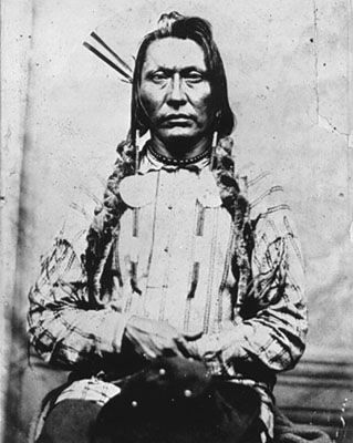 Big Bear was a Plains Cree chief. He was born in 1825 and died in 1888 on the Poundmaker Reserve in Saskatchewan. Big Bear refused to sign Treaty No. 6 (1876). He was the first major chief of the Canadian prairies to refuse.
