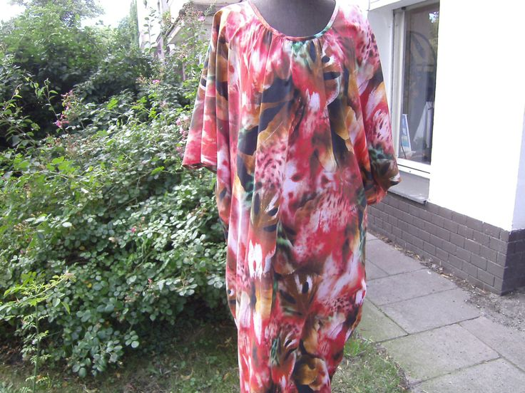 floraler Kaftan - Blumenkaftan - Sommerkleid - Kleid große Größen - Baumwollkleid - rotes Kleid - buntes Kleid - Kleid Gr.46 von BerlinBagsHome auf Etsy