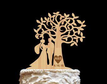 Tree Wedding Cake Topper Wood Family