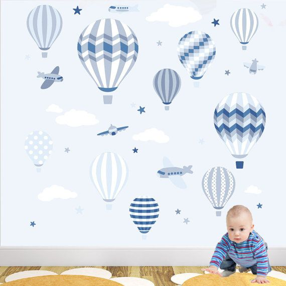 Enchanted Interiors Nursery Wall Art Decals Luxury Hot Air Balloons & Jets Scene Colour Scheme: Blue and Grey Up, Up & Away - Giant Luxury Hot Air Balloons Wall Sticker Scene featuring balloons, jets, stars and clouds designed to captivate your childs imagination. Requiring