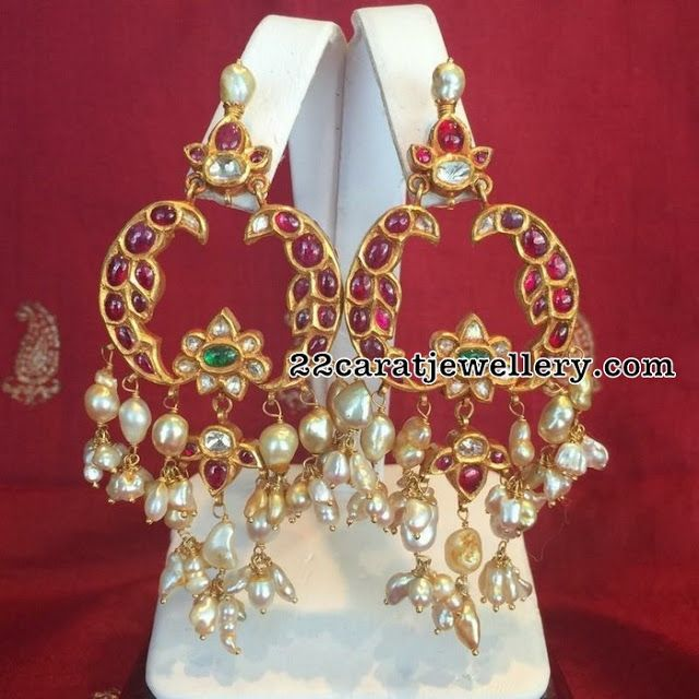 Ruby Chandbalis with Rice Pearls - Jewellery Designs