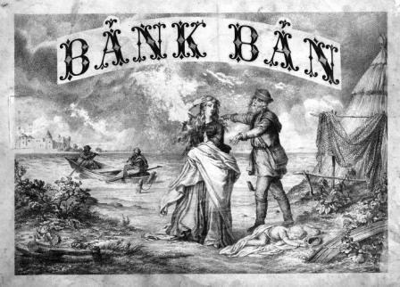 Bánk bán -jelenet az operából, 1870 k., rézkarc.