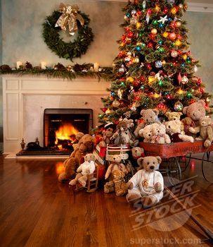 superstock teddy bears surrounding decorated christmas tree - Bear Christmas Tree