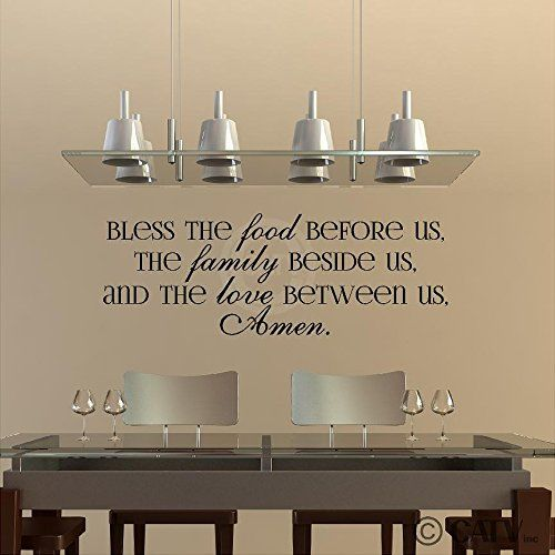 Bless The Food Before Us, The Family Beside Us, And The Love Between Us, Amen vinyl lettering wall decal (Black, 12.5x35.5)