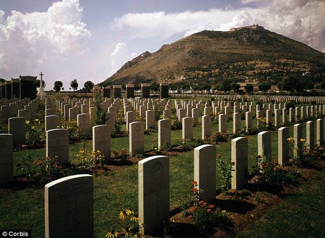 Cassino & Montecassino: The largest WWII cemetary in Italy, Between Naples & Rome. The Monastery sits high upon the Jill. July 2000