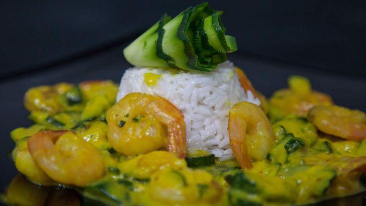 Riso Basmati con Gamberi e Zucchine: sughetto formato con farina di riso e latte