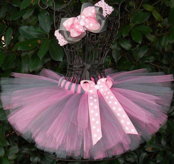 Tutu Gray Pink Tutu Baby Newborn Tutu Girls Tutu by SugarSweetBows