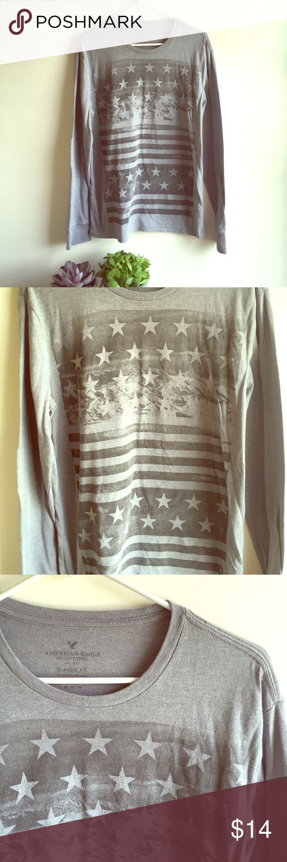⭐️American Eagle Men's American Flag TEE⭐️ ⭐️American Eagle Men's American Flag TEE⭐️ Size Medium. Long Sleeve Tee. American Eagle Brand. Great condition. United States flag on the front. Next day shipping. All sales are final. American Eagle Outfitters Shirts Tees - Long Sleeve