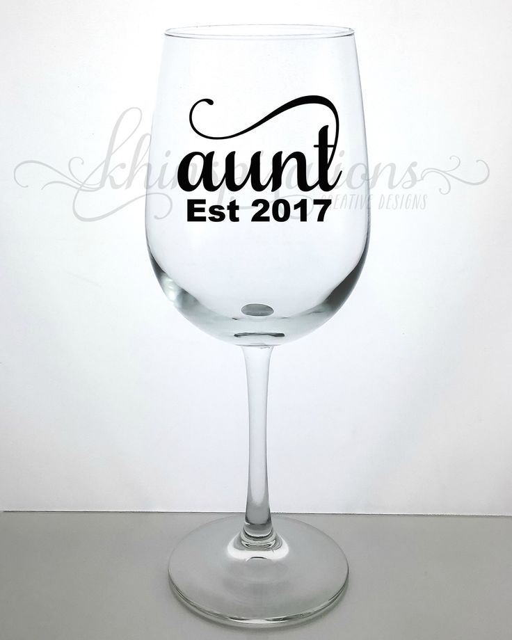 New Aunt Gifts, Aunt Est 2017, Aunt Est 2017 Wine Glass, Aunt Est 2017 Mug, Aunt Est 2017 Cup, New Aunt Gift, Aunt Wine Glass, Aunt to be 2017, Aunt Pregnancy Announcement, Auntie Announcement Gifts. This wine glass makes a great elegant gift for any occasion. You will receive one wine glass with this purchase. The wine glass is clear glass, and can hold 18.5 oz. The wording is done with high quality vinyl. Hand-wash only is recommended. Allow slight variations due to the item being…