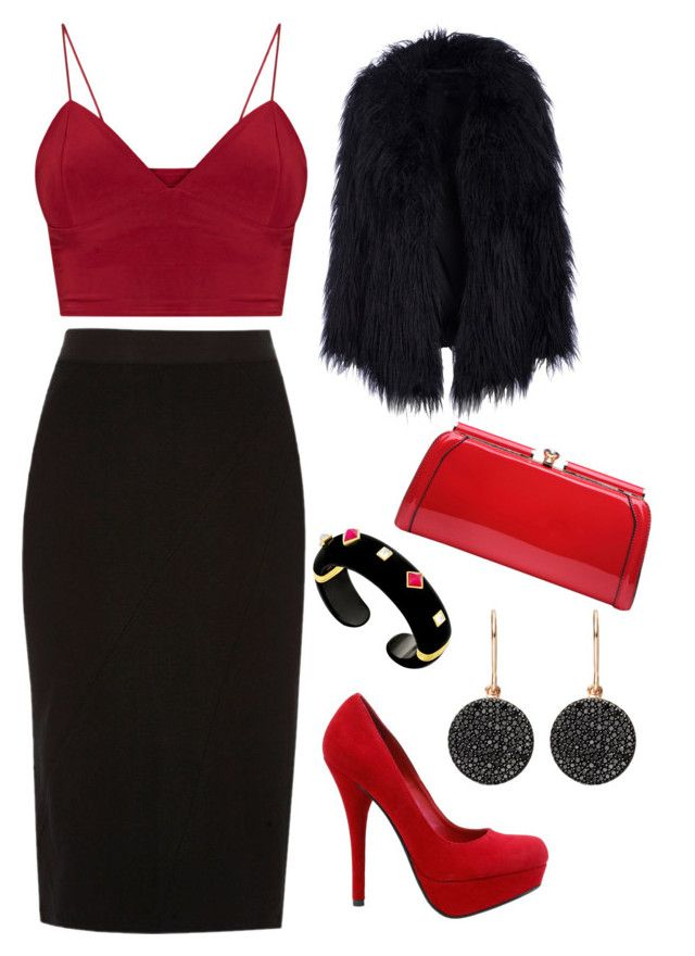 """""""Redblack❤️"""" by lisawijaya ❤ liked on Polyvore featuring River Island, Margot McKinney, Astley Clarke and MKF Collection"""