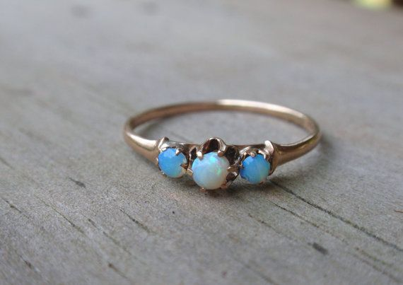 Victorian Opal Ring 3 stone vintage 10k October birthstone yellow gold on Etsy, $109.00
