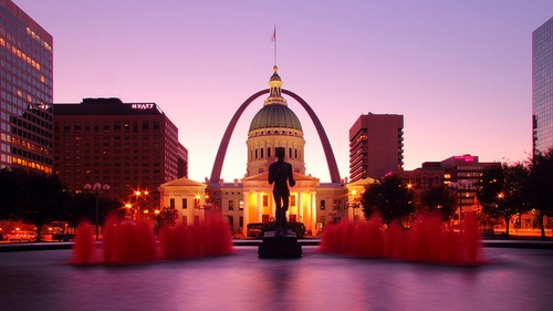 St. Louis Arch and Old Courthouse Fountain at Sunrirse ♦ St. Louis, Missouri, USA | by Christopher Jones
