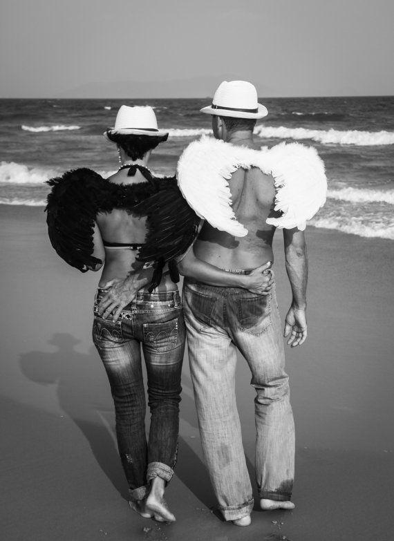 Мужчины и женщины, белые и черные ангелы, оригинальные черно-белые фото. Мгновенный Цифровой Загрузки. 1 включены формате JPG.