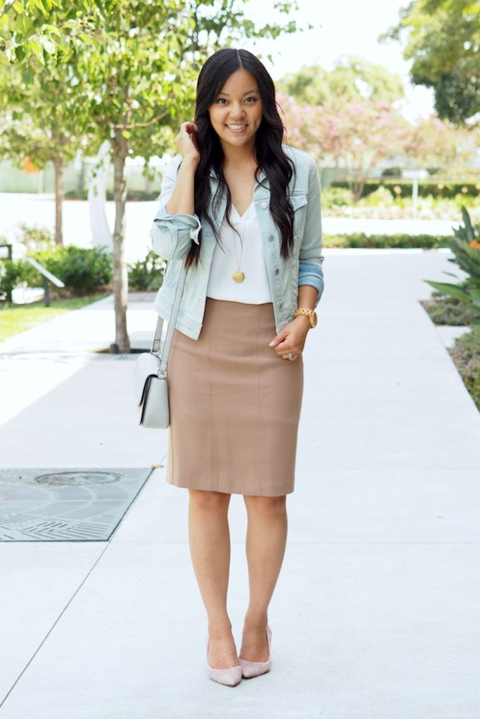 4c31058a1a 10 Ways to Wear the White Tunic (aka One of My Favorite Tops   Business  Casual Outfits   Pencil skirt outfits, Beige pencil skirt, Black pencil  skirt outfit