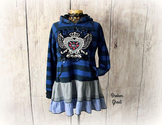 Upcycled Hoodie Street Style Clothing Beatles Band Shirt