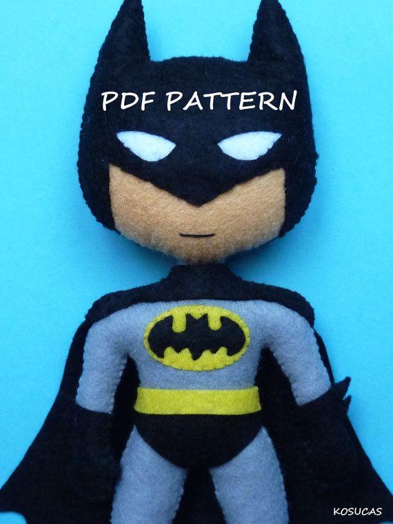 PDF pattern to make a felt Batman. por Kosucas en Etsy