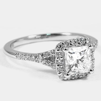 Platinum Harmony Ring // Set with a 1.00 Carat, Princess, Ideal Cut, G Color, SI1 Clarity Diamond #BrilliantEarth