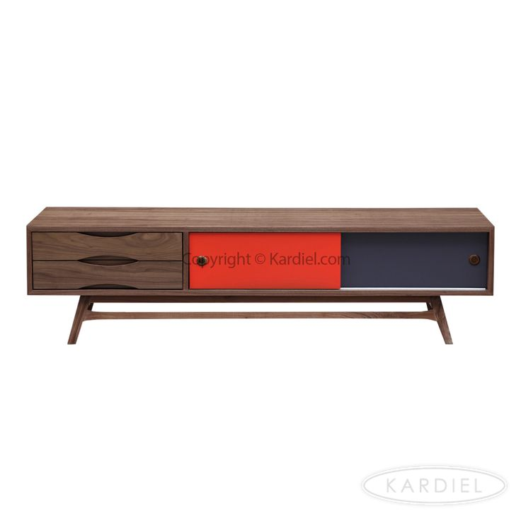 Color Pop Mid-century Modern Media Cabinet, Walnut/Orange & Charcoal Doors |